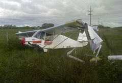 The plane crashed about two kilometres south of Ashern.