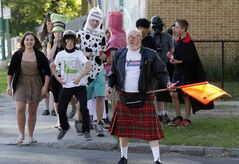 St. Ignatius School crossing guard Bob Sweet showed up as a Scot Wednesday and the students showed up as all sorts of characters.
