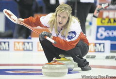 Team Canada skip Jennifer Jones during the morning draw against P.E.I. Jones beat B.C. in the late draw to stay alive.