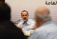 Head of the Syrian National Coalition for Opposition and Revolutionary Forces Mouaz al-Khatib speaks during a meeting in Istanbul, Turkey, Monday, March 18 2013. Syria's main opposition coalition began a push Monday to form an interim government to provide services to people living in parts of the country now controlled by rebel forces. al-Khatib claims that more than 70% of Syria has been