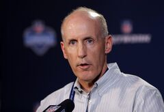 Miami Dolphins head coach Joe Philbin answers a question during a news conference at the NFL football scouting combine in Indianapolis, Thursday, Feb. 20, 2014. (AP Photo/Michael Conroy)