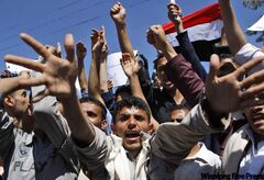 Anti-government protesters in the Yemeni capital Sanaa shout slogans Monday demanding political reform and the resignation of President Ali Abdullah Saleh. More than 1,000 demonstrated for the fourth day in a row.