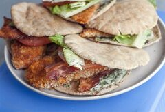 This June 2, 2014 photo shows tilapia BLT pita pockets in Concord, N.H. (AP Photo/Matthew Mead)