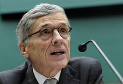 FILE - In this Thursday, Dec. 12, 2013, file photo, Federal Communications Commission (FCC) Chairman Tom Wheeler testifies during a hearing on Capitol Hill in Washington, before the House Energy and Commerce Committee. The Federal Communications Commission is setting out to unravel the mystery behind the Internet traffic jams bogging down the delivery of Netflix videos and other online content. The inquiry announced Friday, June 13, 2014, by Wheeler will dissect the routes that video and other data travel to reach Internet service providers such as Comcast and Verizon. (AP Photo/Susan Walsh, File)