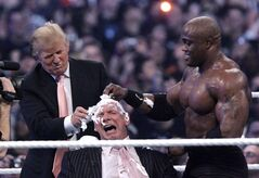 FILE - In this April 1, 2007, file photo, Donald Trump, left, and Bobby Lashley, right shave the head of Vince McMahon after Lashley defeated Umaga at Wrestlemania 23 at Ford Field in Detroit. Lashley is no Brock Lesnar. But the TNA Wrestling heavyweight champion hopes his shift to Bellator can give a boost to both second-tier promotions. Lashley has one of the featured bouts on Friday night when Bellator goes head-to-head on national TV vs. UFC. (AP Photo/Carlos Osorio, File)