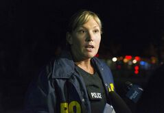 Winnipeg Police Det.-Sgt. Natalie Aitken speaks to reporters during an ongoing Stella Avenue standoff Wednesday night.