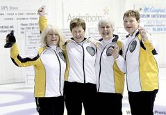 Linda Van Daele, Joyce McDougall, Cheryl Orr and Karen Dunbar (from left) celebrate after winning the Canadian Masters Women's Curling Championship Tuesday.