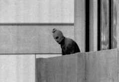 A tragic iconic image in the history of the Olympics came 40 years ago: a gun-wielding masked terrorist on a balcony in the athletes' village in Munich in 1972.