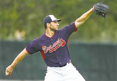 Atlanta Braves pitcher Brandon Beachy during spring training on Friday, Feb. 21, 2014, in Lake Buena Vista, Fla.