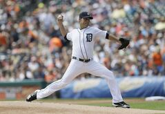 Detroit Tigers starting pitcher Anibal Sanchez throws during the first inning of an interleague baseball game against the Colorado Rockies, Sunday, Aug. 3, 2014, in Detroit. (AP Photo/Carlos Osorio)
