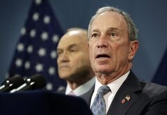 FILE- In this April 16, 2013 file photo, New York Mayor Michael Bloomberg, right, accompanied by Police Commissioner Raymond Kelly, addresses a news conference in the Blue Room of New York's City Hall. After an Aug. 12 ruling by a federal judge sitting in New York, the department burnishing a reputation as one of the nation's most potent police forces appears poised to become one of the most closely monitored. The federal judge said the department made thousands of racially discriminatory street stops and appointed a monitor to direct changes. New York City lawmakers will vote on creating an inspector general for the NYPD and widening the legal path for pursuing claims of police bias. (AP Photo/Richard Drew, File)