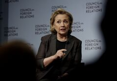 Hillary Clinton participates in a conversation about her career in government and her new book,