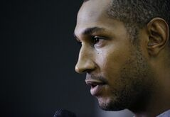 San Antonio Spurs forward Boris Diaw answers a question during a media availability for the NBA basketball finals on Saturday, June 14, 2014, in San Antonio. The Spurs play Game 5 against the Miami Heat on Sunday. (AP Photo/David J. Phillip)