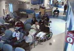 Brian Sinclair (top right in wheelchair) is shown in a screengrab from surveillance footage of his time at the Winnipeg Health Sciences Centre in September, 2008. THE CANADIAN PRESS/HO