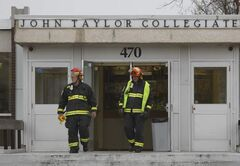 Winnipeg Fire Fighters at John Taylor Collegiate after a fire broke out in a basement storage room Tuesday morning. No one was injured.