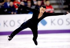 Amodio lost his balance and slipped going into a spin in his short program.