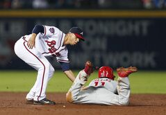 Philadelphia Phillies' Jimmy Rollins (11) is tagged out by Atlanta Braves shortstop Andrelton Simmons as he tries to steal second base in the eighth inning of a baseball game in Atlanta, Friday, July 18, 2014. (AP Photo/John Bazemore)