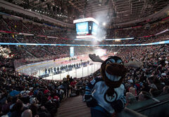 Mick E. Moose, the Winnipeg Jets mascot, takes in the pre-game ceremonies at the NHL All-Star game in January 2012 in Ottawa. The 2013 all-star game in Columbus, slated for Jan. 26-27, has been cancelled due to the ongoing NHL labour dispute.