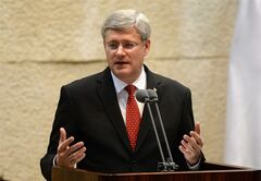 Prime Minister Stephen Harper addresses the Knesset on Monday, January 20, 2014. While in the Middle East Harper is visiting Israel, the West Bank, and Jordan. THE CANADIAN PRESS/Sean Kilpatrick