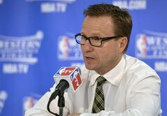 Oklahoma City Thunder head coach Scott Brooks speaks at a press conference after Game 5 of the NBA basketball Western Conference finals, Thursday, May 29, 2014, in San Antonio. San Antonio won 117-89. (AP Photo/Darren Abate)