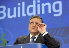European Commission President Jose Manuel Barroso listens to questions during a media conference at EU headquarters in Brussels Monday, June 2, 2014. The European Commission, on Monday, adopted a series of economic policy recommendations to individual Member States. The recommendations are based on detailed analyses of each country's situation and provide guidance on how to boost growth, increase competitiveness and create jobs in 2014-2015. (AP Photo/Virginia Mayo)