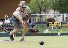 Terry Horsman bowls at the park. The 60-member club originated in 1904.