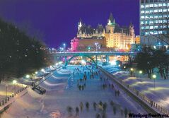 Skating on Ottawa�s Rideau Canal during Winterlude. At left, skating at the Carnaval Glisse et Glace in Terrebonne, Que. Top, ice-climbing at the Carnaval de Sherbrooke.