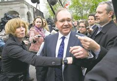 Bernard Valcourt, in a media scrum two years ago, is the new minister of Aboriginal Affairs, replacing John Duncan, who  resigned last week as head of the department.
