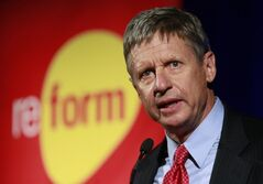 File-This Nov. 3, 2011 file photo shows former New Mexico Gov. Gary Johnson addressing the 2011 Drug Policy Alliance conference in Los Angeles. On Tuesday, July 1, 2014 it was announced that Johnson had been named the CEO of a Nevada-based company that hopes to make medical and recreational marijuana products. (AP Photo/Damian Dovarganes, File)