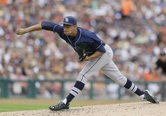 Tampa Bay Rays starting pitcher Chris Archer throws during the first inning of a baseball game against the Detroit Tigers in Detroit, Saturday, July 5, 2014. (AP Photo/Carlos Osorio)