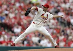 St. Louis Cardinals starting pitcher Tyler Lyons throws during the first inning of a baseball game against the Pittsburgh Pirates on Saturday, April 26, 2014, in St. Louis. (AP Photo/Jeff Roberson)
