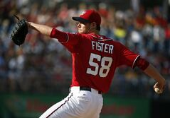 Washington Nationals starting pitcher Doug Fister throws during the first inning of a baseball game against the Pittsburgh Pirates at Nationals Park, Sunday, Aug. 17, 2014, in Washington. (AP Photo/Alex Brandon)