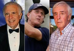 This combo made from file photos shows, from left, financier Carl Icahn, pro golfer Phil Mickelson, and developer and high-profile sports better Billy Walters. A federal official briefed on the investigation told The Associated Press that the FBI and Securities and Exchange Commission are looking at stock trades that Mickelson and Walters made involving Clorox when Icahn was attempting to take over the company. There have been no charges filed against the three men and the investigation could lead to nothing. (AP Photo/Henny Ray Abrams/Wilfredo Lee/Las Vegas Review-Journal, Jessica Ebelhar)