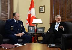 Prime Minister Stephen Harper, right, meets with General Philip Breedlove, Commander of U.S. European Command and NATO Supreme Allied Commander Europe, at his Langevin Block office in Ottawa on Monday, May 5, 2014. THE CANADIAN PRESS/Sean Kilpatrick