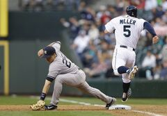 New York Yankees first baseman Mark Teixeira, left, makes the catch in time to force Seattle Mariners' Brad Miller (5) at first base in the fifth inning of a baseball game, Tuesday, June 10, 2014, in Seattle. (AP Photo/Ted S. Warren)