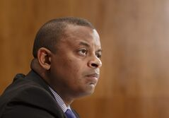 FILE - This March 13, 2014 file photo shows Transportation Secretary Anthony Foxx on Capitol Hill in Washington. The Transportation Department issued an emergency order on May 7 requiring that railroads inform state emergency management officials before moving large shipments of crude oil through their states, and urged railroads not to use older model tanks cars that are easily ruptured in accidents, even at slow speeds.