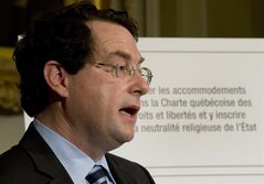 Quebec Minister Responsible for Democratic Institutions and Active Citizenship Bernard Drainville presents the Charter of Quebec Values Tuesday, September 10, 2013 at the legislature in Quebec City. THE CANADIAN PRESS/Jacques Boissinot