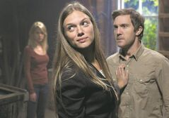 Spiridakos with Sam Huntington in a scene from Being Human.