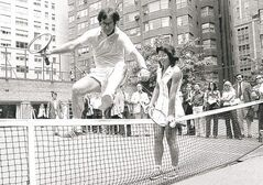 Billie Jean King holds down the net for Bobby Riggs at 1973's 'Battle of the Sexes.'