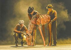 War Horse is no dog-and-pony show: above, Joey as a foal, operated by Laurabeth Breya, with Catherine Gowl, left, and Nick LaMedica.