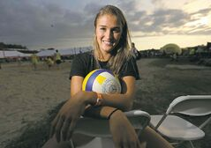 Taylor Pischke at the Super-Spike volleyball tournament at Maple Grove Rugby Park, Friday, July 18, 2014.