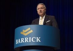 Barrick Gold CEO Jamie Sokalsky is pictured in Toronto on April 30, 2014. Barrick Gold Corp. says Sokalsky will step down on Sept. 15. THE CANADIAN PRESS/Darren Calabrese