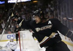 Anaheim Ducks' Teemu Selanne, of Finland, celebrates his goal against the Dallas Stars during the second period of an NHL hockey game in Anaheim, Calif., Wednesday, April 3, 2013. Selanne has finally agreed to do the unthinkable.Selanne, the NHL's oldest player at 42, accepted coach Bruce Boudreau's request to take a game off as the Anaheim Ducks visited the Vancouver Canucks on Thursday. THE CANADIAN PRESS/AP/Jae C. Hong
