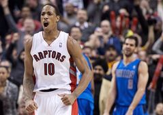 Toronto Raptors forward DeMar DeRozan reacts after making a basket against the Dallas Mavericks during second half NBA basketball action in Toronto on Wednesday, January 22, 2014. The NBA announced Thursday that guard DeMar DeRozan has been named as a reserve to the Eastern Conference team for the 2014 All-Star Game. THE CANADIAN PRESS/Nathan Denette