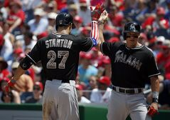 Miami Marlins' Giancarlo Stanton (27) celebrates his two-run homer with Derek Dietrich, whom he knocked in, during the third inning of a baseball game against the Washington Nationals at Nationals Park Monday, May 26, 2014, in Washington. (AP Photo/Alex Brandon)