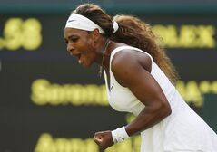 Serena Williams of U.S. celebrates after winning a point against Anna Tatishvili of U.S. in their match at the All England Lawn Tennis Championships in Wimbledon, London, Tuesday, June 24, 2014. (AP Photo/Sang Tan)