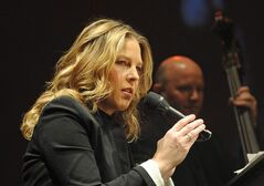 Canadian jazz pianist and singer Diana Krall performs during her concert at the Congress Hall in Warsaw, Poland, Sunday, Nov. 11, 2012. Krall has moved audiences at some of the world's biggest concert halls, but when she thinks of kicking off her new Canadian tour on Sunday in her hometown of Nanaimo, B.C., she gets butterflies.THE CANADIAN PRESS/AP-Alik Keplicz
