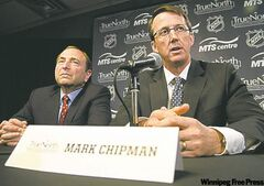 NHL commissioner Gary Bettman (left) and True North Sports and Entertainment Limited chairman Mark Chipman speak last year after the NHL's return to Winnipeg was announced.