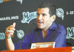 Florida Marlins President David Samson answers questions druing a town meeting with Marlins fans at  the Annual Florida Marlins' Fan Fest at Sun Life Stadium in Miami, Florida, Saturday, February 19, 2011. (Pedro Portal/El Nuevo Herald/MCT)
