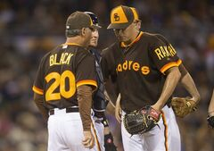 San Diego Padres manager Bud Black, left, relieves starting pitcher Billy Buckner, right, in the sixth inning of a baseball game against the Chicago Cubs, Saturday, May 24, 2014, in San Diego. (AP Photo/Sean M. Haffey)